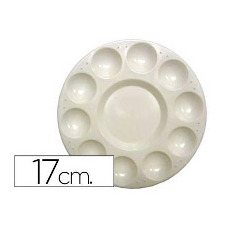 Paleta plastico Artist circular con 10 huecos tamaño 17 cm