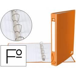 Carpeta Liderpapel de 4 anillas 25 mm mixtas carton forrado folio color naranja