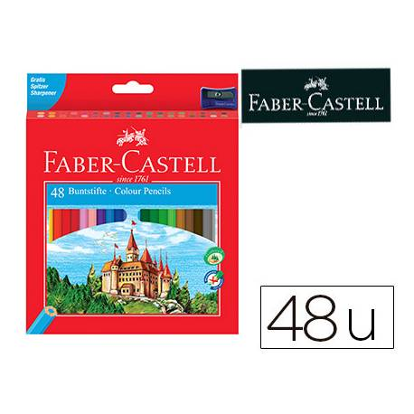 Lapices de colores Faber-Castell hexagonal caja 48 unidades + sacapuntas