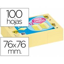 Pack promocional 24+12. Bloc de notas adhesivas quita y pon Post-it ® 76x76mm amarillo