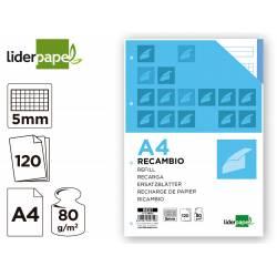Recambio Liderpapel DIN A4 4 taladros 80gr cuadrícula 5mm