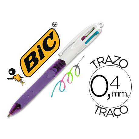 Bolígrafo marca Bic 4 colores Pastel 0,4 mm