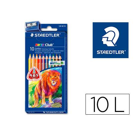 Lapices de colores Staedtler modelo Noris Club triangulares Triplus 10 lapices gordos