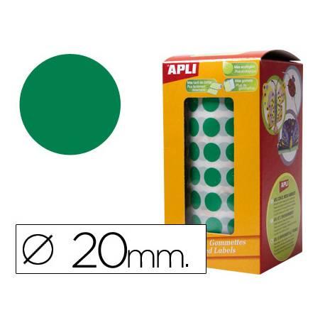 Gomets Apli circulares color verde 20mm