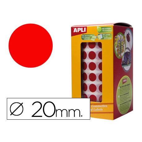 Gomets Apli circulares color rojo 20mm