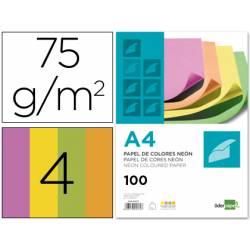 Papel color Liderpapel Colores Surtidos Neon tamaño A4 75 g/m2 100 hojas