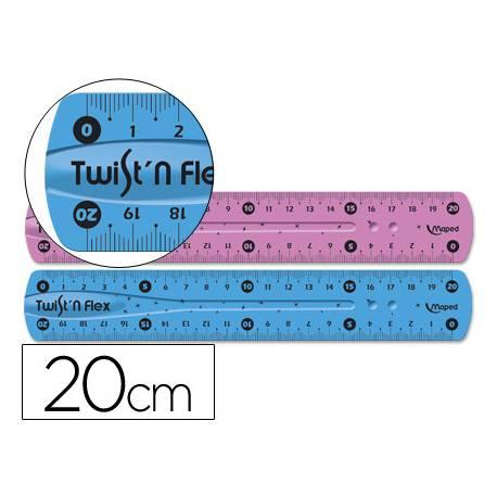 Regla plastico flexible marca Maped 20 cm