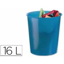 Papelera plástico Q-Connect azul transparente de 16 litros
