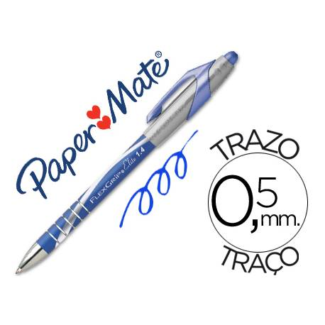 Boligrafo marca Papermate Flexgrip elite 0,5 mm azul