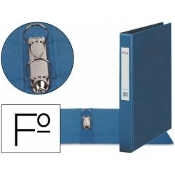 Carpeta plastico 2 anillas 40 mm Pardo folio azul
