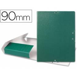 Carpeta de proyectos Liderpapel de carton con gomas verde 9 cm