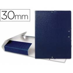 Carpeta de proyectos Liderpapel de carton con gomas. 3 cm. Azul Folio