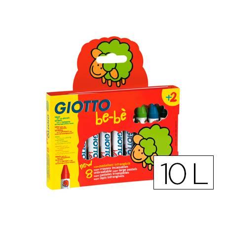 Lapices cera Giotto be-be caja de 10 unidades colores surtidos y sacapuntas