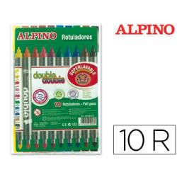 Rotulador Duo Alpino punta doble media y gruesa lavable caja 10 rotuladores