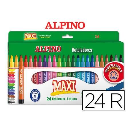 Rotulador Alpino Maxi punta gruesa lavable caja de 24 rotuladores