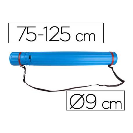 Portaplanos plastico extensible 75cm diametro 9 cm Liderpapel color azul