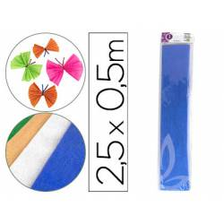 Papel crespon Liderpapel color azul metalizado
