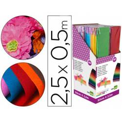 Expositor Papel crespon liderpapel encelofanado de 80 unidades colores surtidos