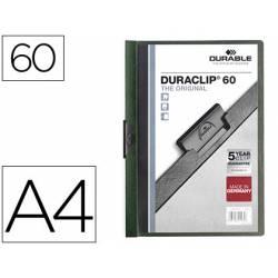 Carpeta dossier con pinza central duraclip Durable 60 hojas Din A4 color verde oscuro