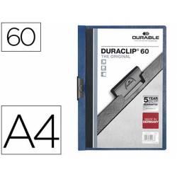 Carpeta dossier con pinza central duraclip Durable 60 hojas Din A4 color azul oscuro
