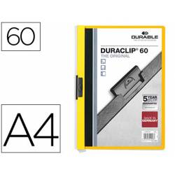 Carpeta dossier con pinza central duraclip Durable 60 hojas Din A4 color amarillo
