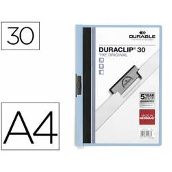 Carpeta dossier con pinza central duraclip Durable 30 hojas Din A4 color azul