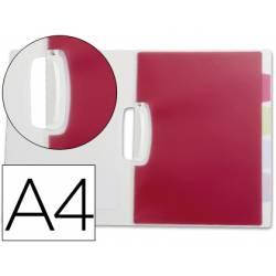 Carpeta dossier 5 separadores pinza lateral Beautone Din A4 color transparente