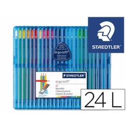 Lapices de color Staedtler Ergosoft triangulares estuche plastico 24 unidades