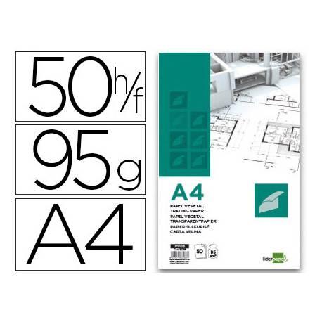 Bloc Papel Vegetal Liderpapel A4 gramaje 95g/m2 50 hojas