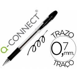 Boligrafo transparente Q-Connect negro 0,7 mm con capuchón