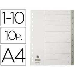Separadores de plastico Q-Connect numericos multitaladro 1-10 DIN A4