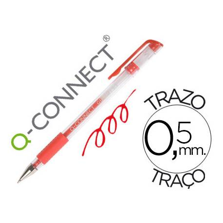 Boligrafo transparente Q-Connect gel rojo 0,3 mm
