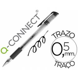 Boligrafo transparente Q-Connect negro gel 0,3 mm