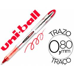 Rotulador-bolígrafo roller Uni-Ball rojo UB-200 trazo 0,6 mm.