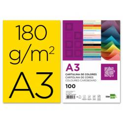 Cartulina Liderpapel color amarillo a3 180 g/m2