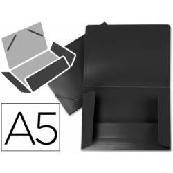 Carpeta lomo flexible gomas con solapas marca Liderpapel Din A5 negro opaco