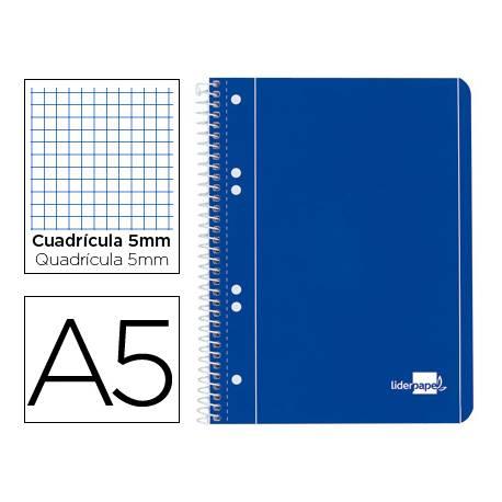 Bloc Din A5 espiral Microperforado 80 hojas Tapa azul Liderpapel