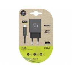 CARGADOR TECH ONE TECH 2.4 DOBLE USB + CABLE BRAIDED NYLON MICRO USB ANDROID LONGITUD 1 MT COLOR NEGRO