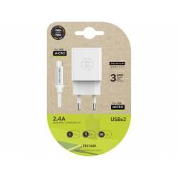 CARGADOR TECH ONE TECH 2.4 DOBLE USB + CABLE BRAIDED NYLON MICRO USB ANDROID LONGITUD 1 MT COLOR BLANCO