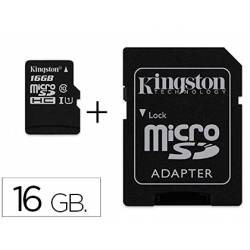 Memoria SD Micro Kingston 16 GB de clase 10 con adaptador