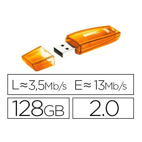 Memoria USB Flash de Emtec 128 GB 2.0 Color Naranja