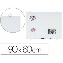 Pizarra Blanca Q-Connect Cristal Magnetica con marco de aluminio 90x60 cm