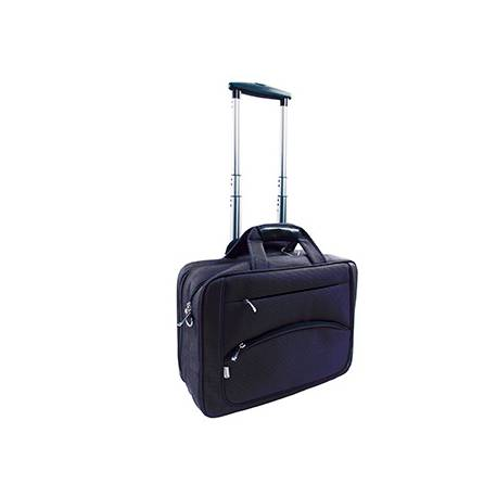"Maletin para portatil Q-connect con ruedas Azul marino 16"" Negro 41x32,5x15 cm"