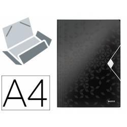 Carpeta de gomas Leitz Wow con solapas Polipropileno Din A4 color Negro