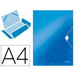 Carpeta de gomas Leitz Wow con solapas Polipropileno Din A4 color Azul