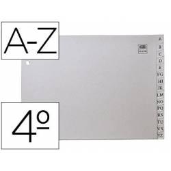 Separador alfabetico Elba plastico Cuarto 2 taladros en color gris
