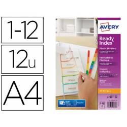 Separadores Avery DIN A4 Polipropileno Imprimibles 12 Pestañas de Colores Surtidos