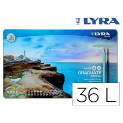 Lapices de colores Lyra Graduate Aquarell Caja Metálica de 36 colores + Pincel