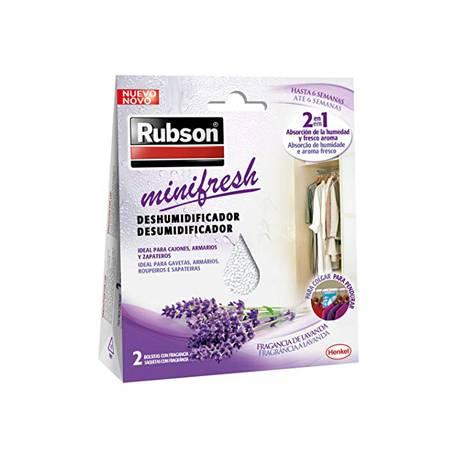 Ambientador deshumidificador marca Rubson mini fresh lavanda Pack 2 bolsitas