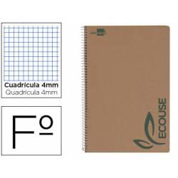 Bloc Liderpapel espiral folio Cuadriculado 4mm 80 hojas con papel reciclado